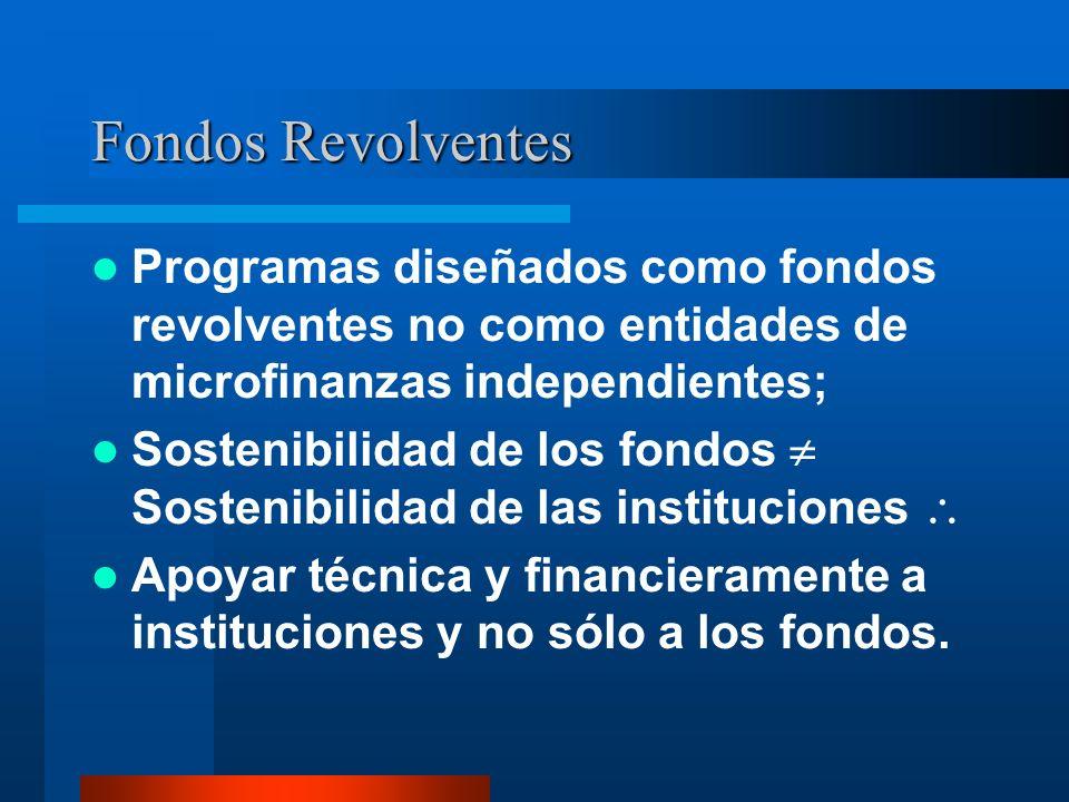 Fondos RevolventesProgramas diseñados como fondos revolventes no como entidades de microfinanzas independientes;