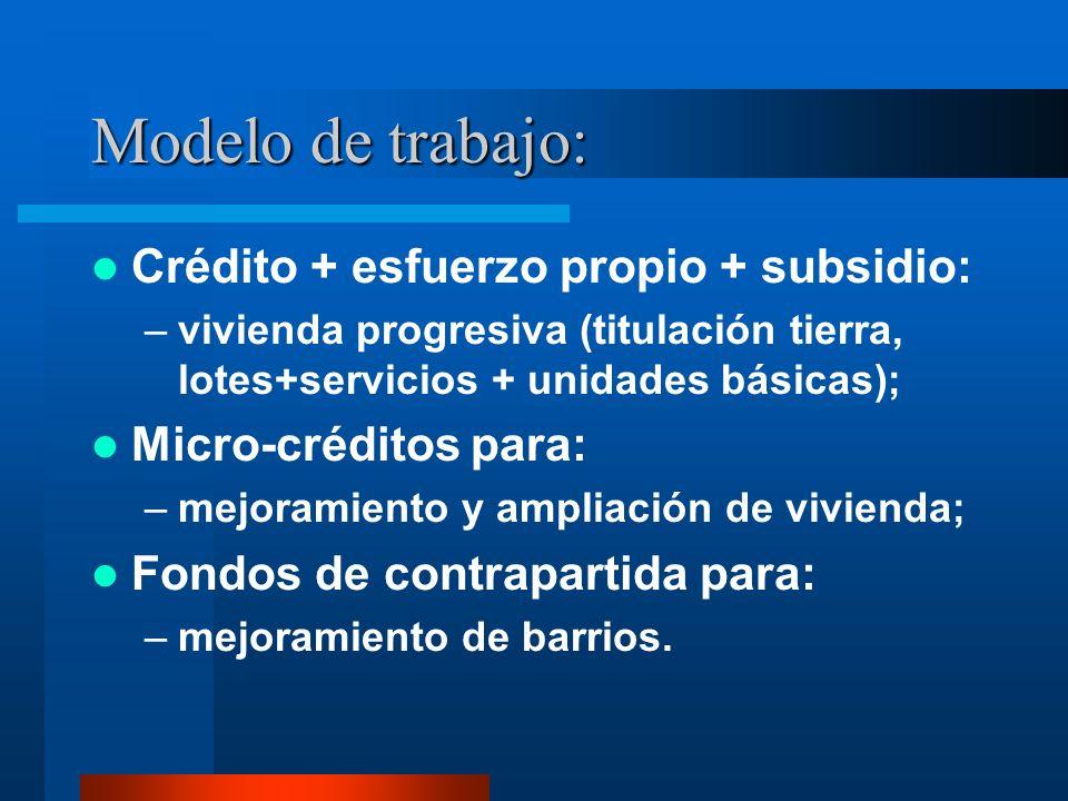 Modelo de trabajo: Crédito + esfuerzo propio + subsidio: