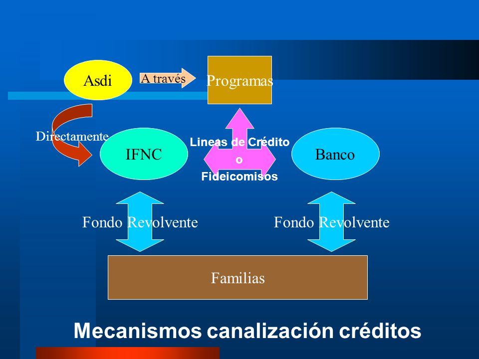 Mecanismos canalización créditos