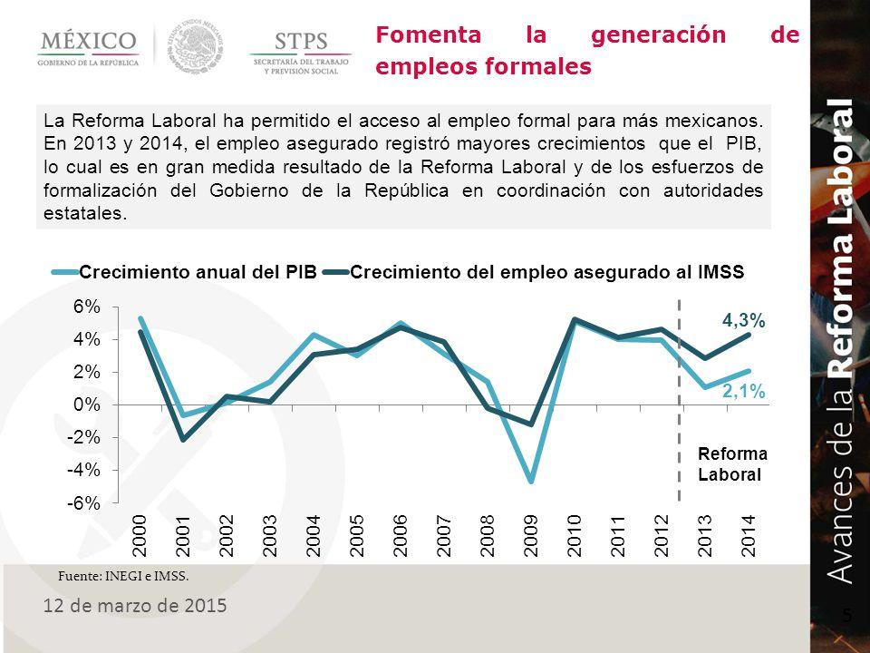 Fomenta la generación de empleos formales