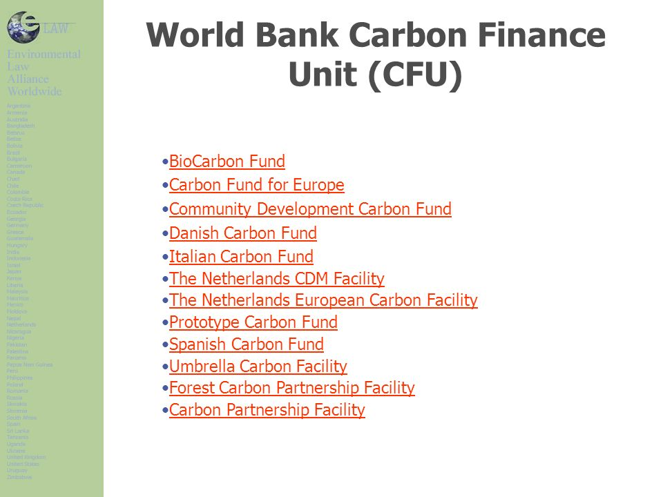 World Bank Carbon Finance Unit (CFU)