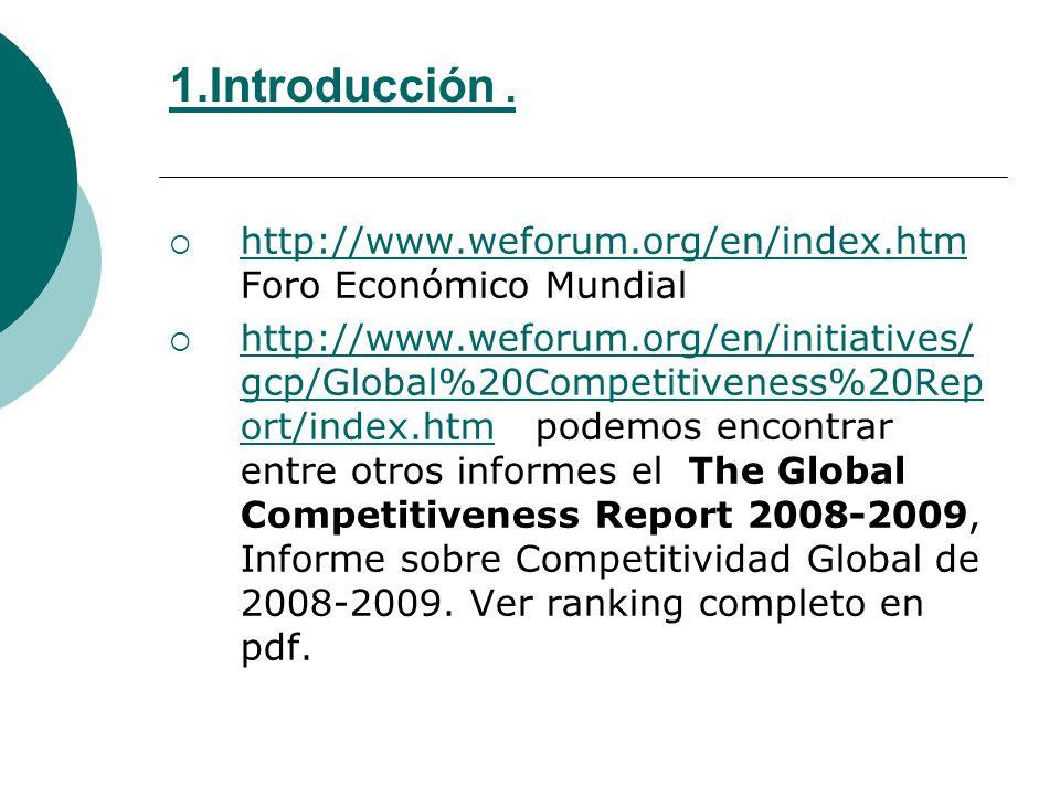 1.Introducción . http://www.weforum.org/en/index.htm Foro Económico Mundial.