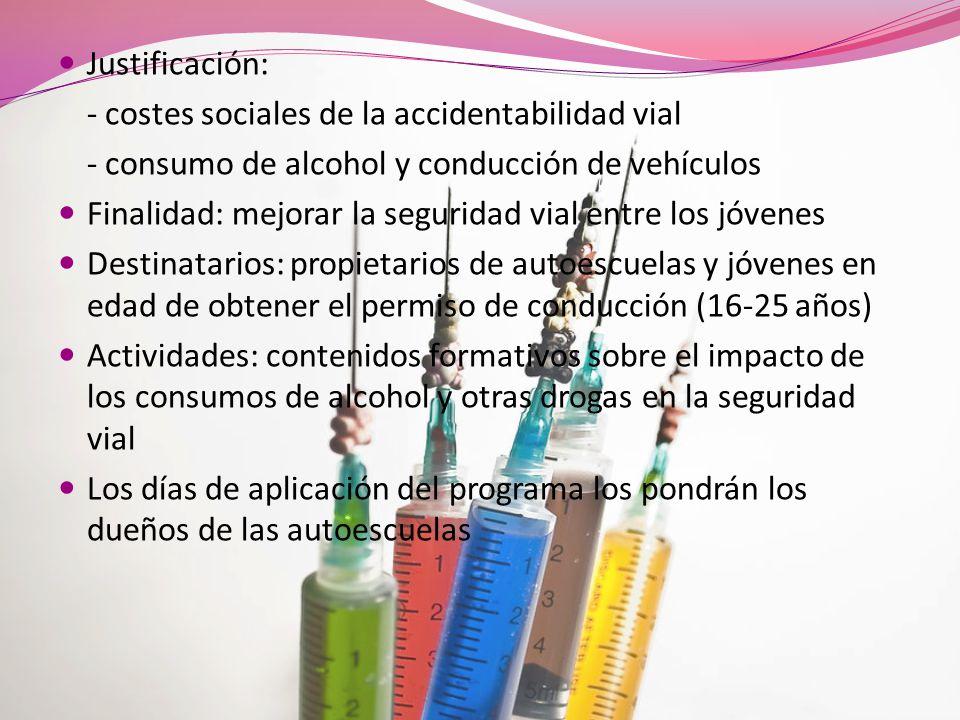 Justificación: - costes sociales de la accidentabilidad vial. - consumo de alcohol y conducción de vehículos.