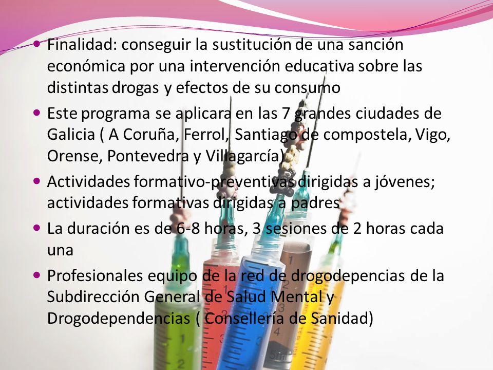 Finalidad: conseguir la sustitución de una sanción económica por una intervención educativa sobre las distintas drogas y efectos de su consumo