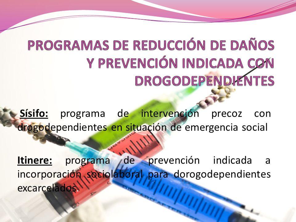 PROGRAMAS DE REDUCCIÓN DE DAÑOS Y PREVENCIÓN INDICADA CON DROGODEPENDIENTES