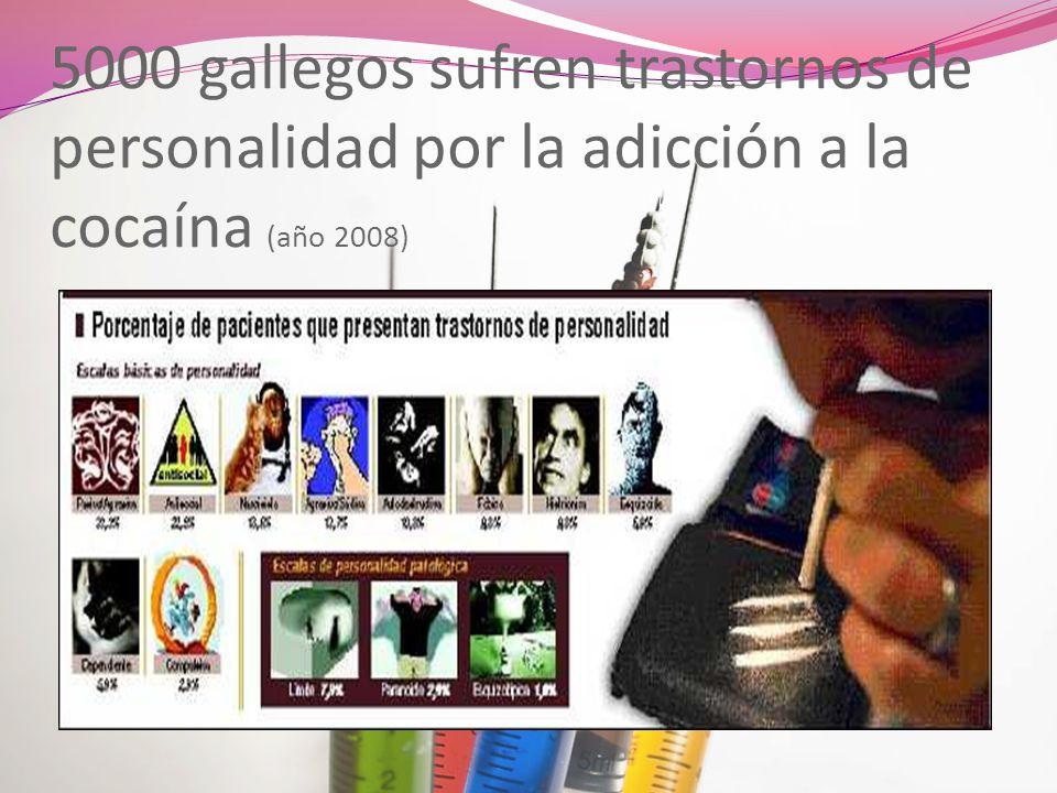 5000 gallegos sufren trastornos de personalidad por la adicción a la cocaína (año 2008)