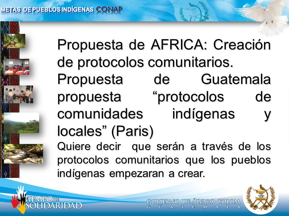 Propuesta de AFRICA: Creación de protocolos comunitarios.