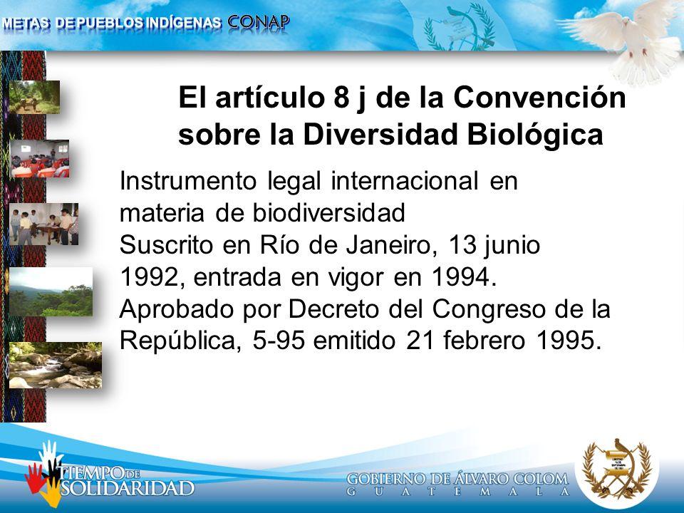 El artículo 8 j de la Convención sobre la Diversidad Biológica