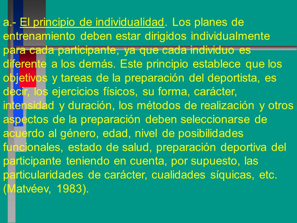 a. - El principio de individualidad