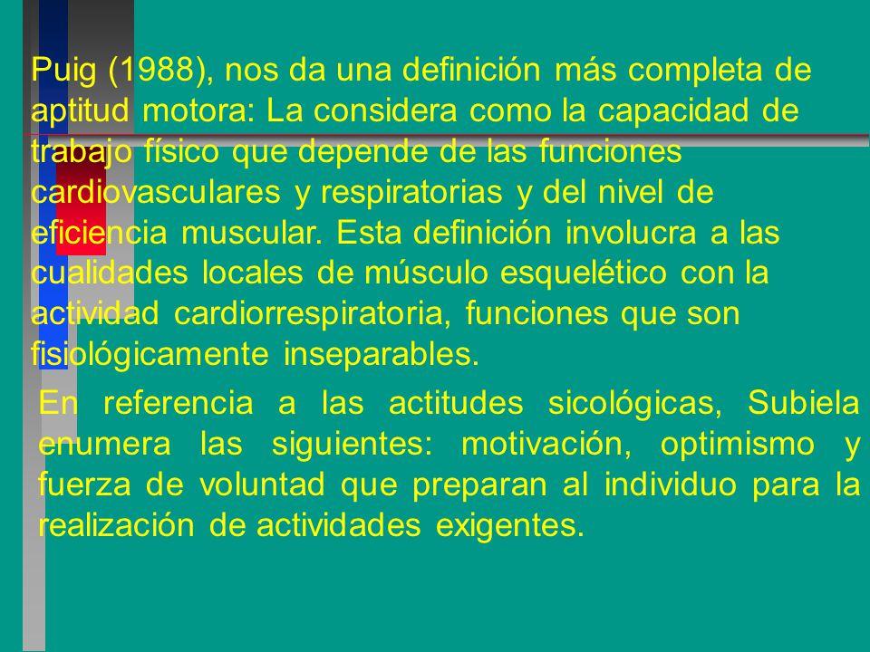 Puig (1988), nos da una definición más completa de aptitud motora: La considera como la capacidad de trabajo físico que depende de las funciones cardiovasculares y respiratorias y del nivel de eficiencia muscular. Esta definición involucra a las cualidades locales de músculo esquelético con la actividad cardiorrespiratoria, funciones que son fisiológicamente inseparables.