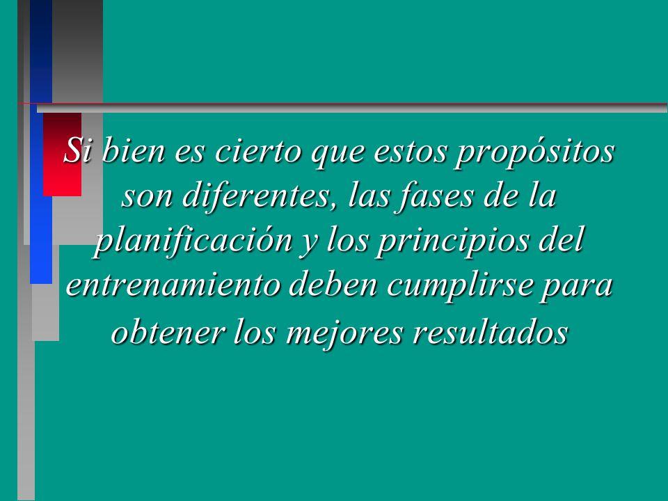 Si bien es cierto que estos propósitos son diferentes, las fases de la planificación y los principios del entrenamiento deben cumplirse para obtener los mejores resultados