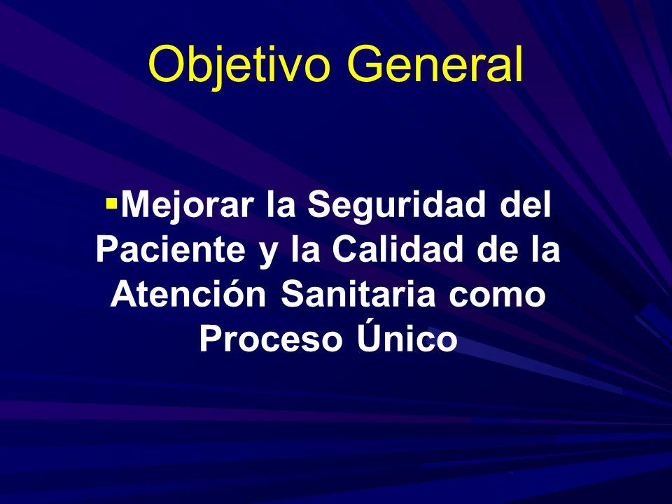 Objetivo General Mejorar la Seguridad del Paciente y la Calidad de la Atención Sanitaria como Proceso Único.