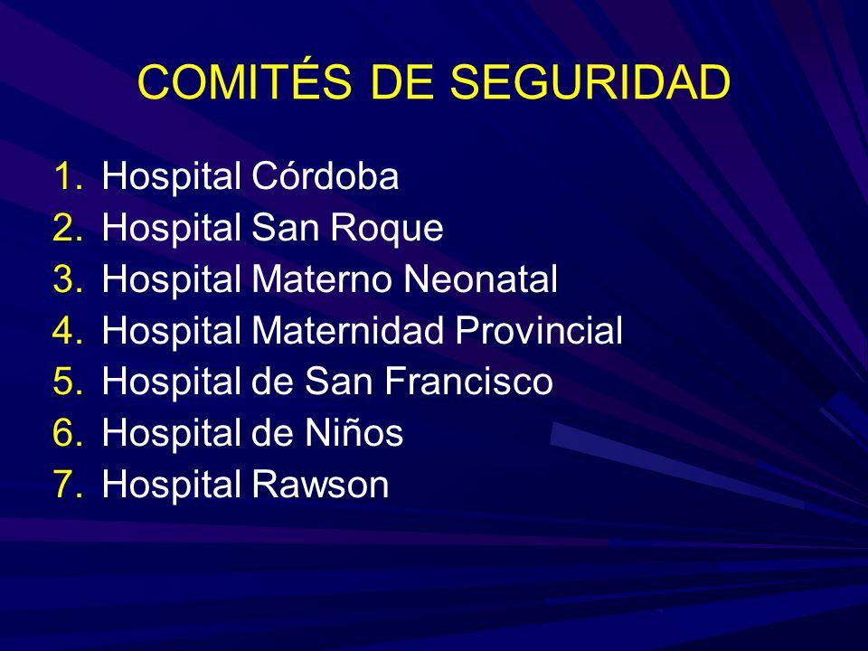 COMITÉS DE SEGURIDAD Hospital Córdoba Hospital San Roque