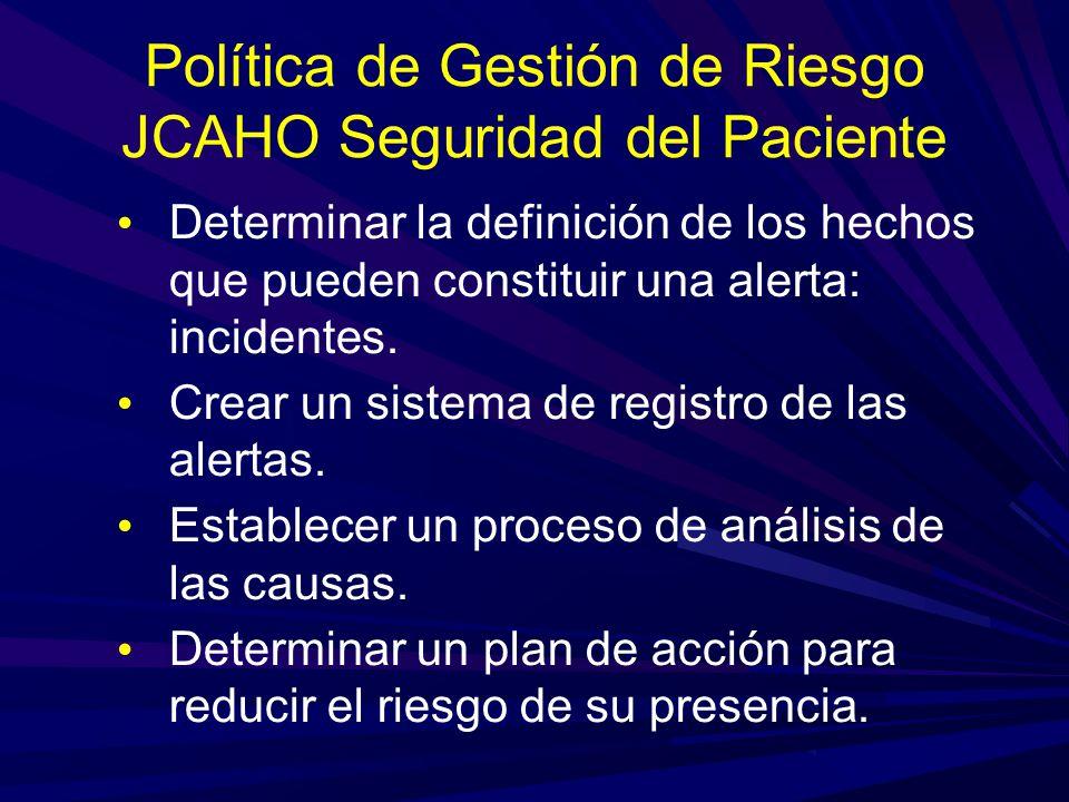 Política de Gestión de Riesgo JCAHO Seguridad del Paciente