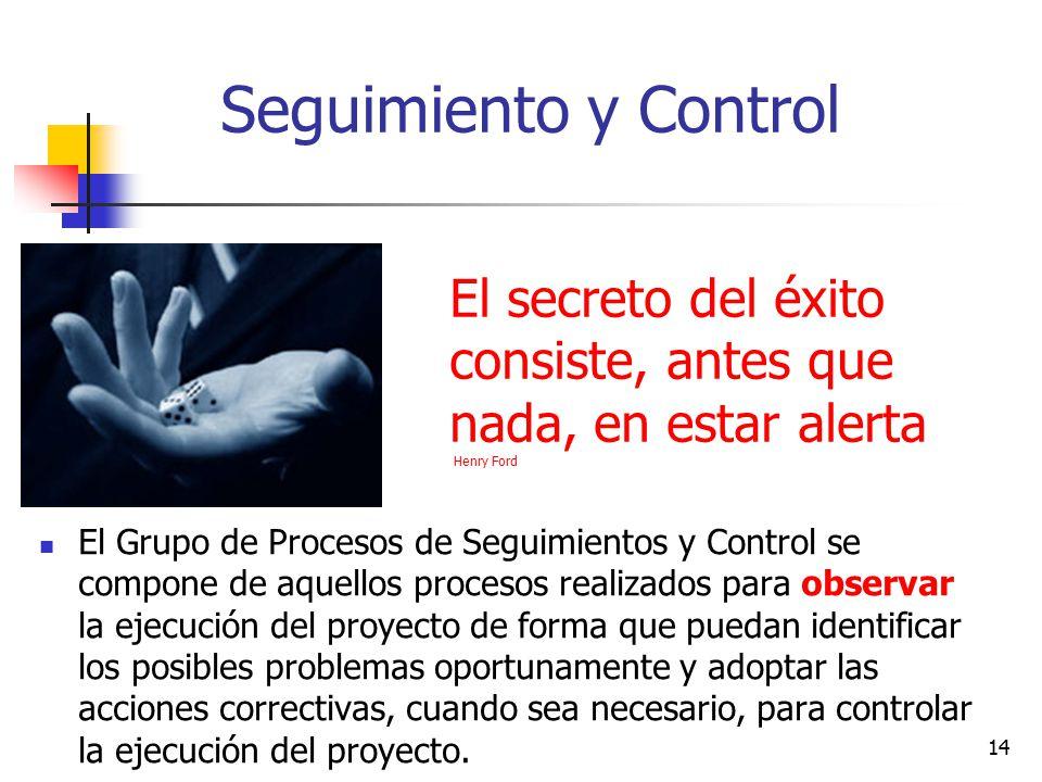 Seguimiento y Control El secreto del éxito consiste, antes que nada, en estar alerta Henry Ford.
