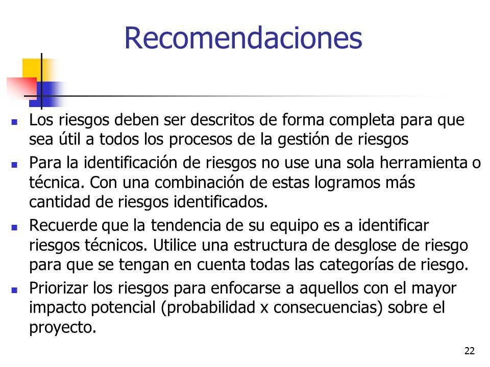 Recomendaciones Los riesgos deben ser descritos de forma completa para que sea útil a todos los procesos de la gestión de riesgos.