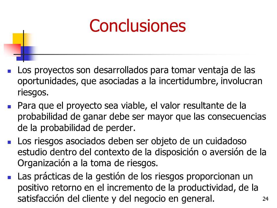 Conclusiones Los proyectos son desarrollados para tomar ventaja de las oportunidades, que asociadas a la incertidumbre, involucran riesgos.