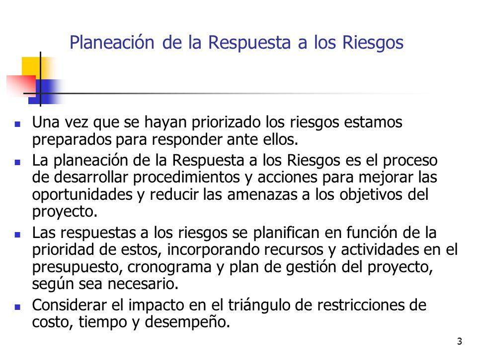 Planeación de la Respuesta a los Riesgos
