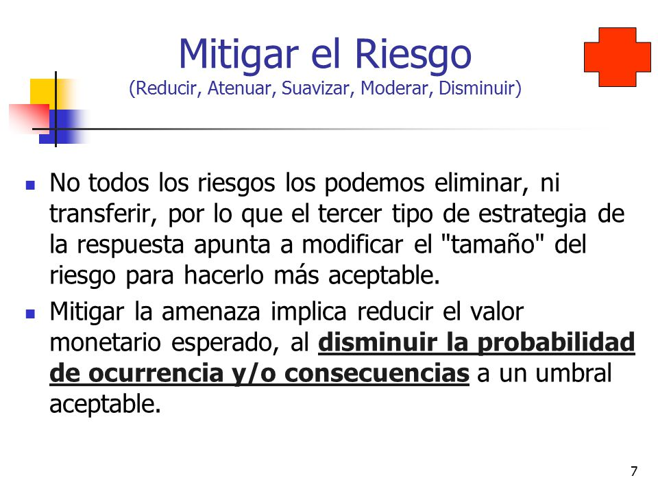 Mitigar el Riesgo (Reducir, Atenuar, Suavizar, Moderar, Disminuir)