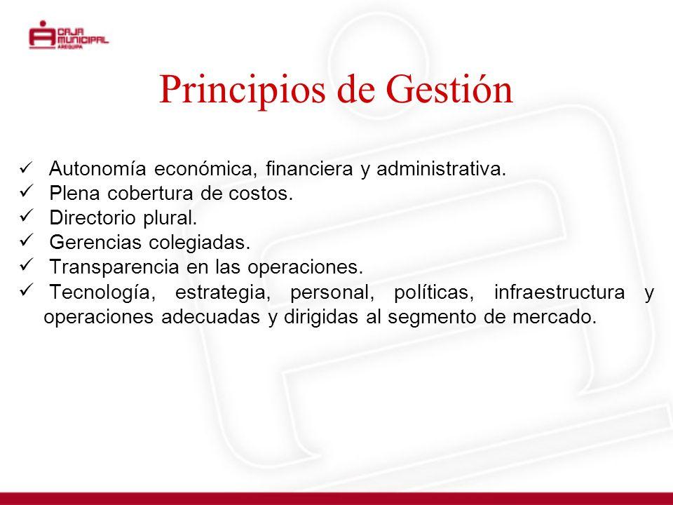 Principios de Gestión Plena cobertura de costos. Directorio plural.