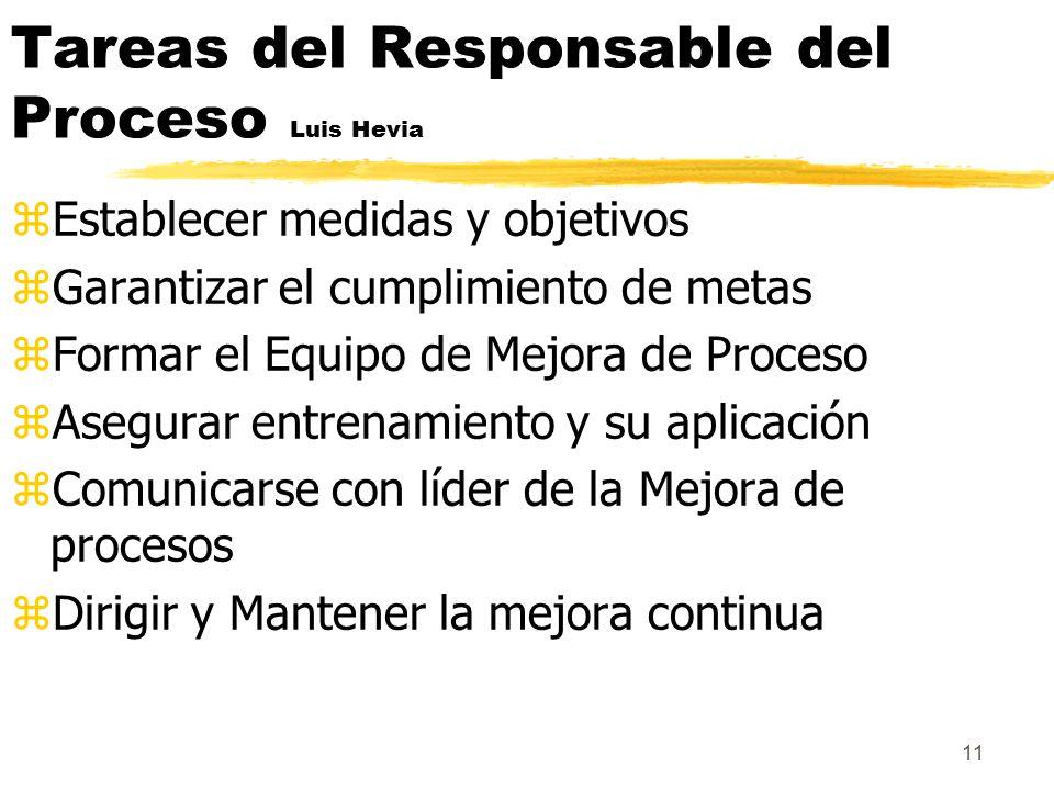 Tareas del Responsable del Proceso Luis Hevia