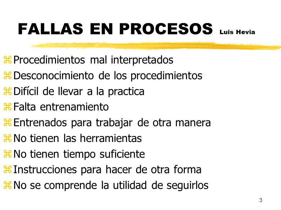 FALLAS EN PROCESOS Luis Hevia