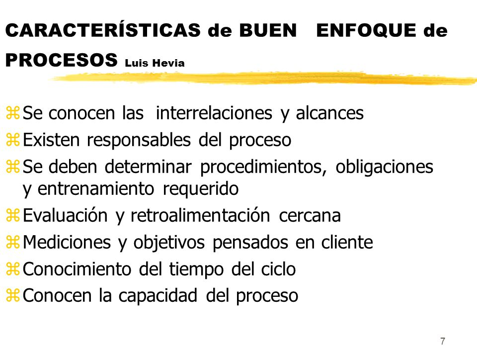 CARACTERÍSTICAS de BUEN ENFOQUE de PROCESOS Luis Hevia
