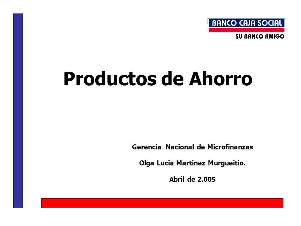 Gerencia Nacional de Microfinanzas Olga Lucia Martinez Murgueitio.