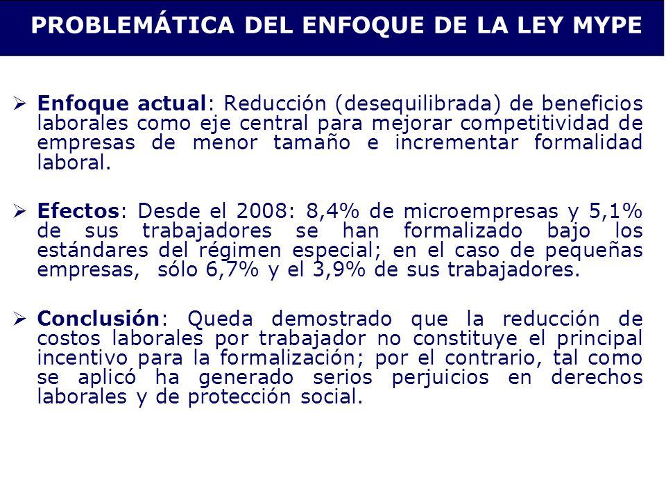PROBLEMÁTICA DEL ENFOQUE DE LA LEY MYPE