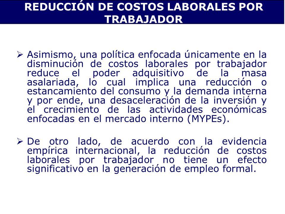 REDUCCIÓN DE COSTOS LABORALES POR TRABAJADOR