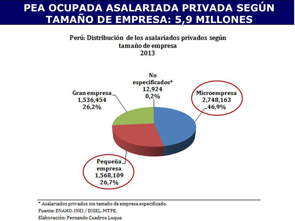 PEA OCUPADA ASALARIADA PRIVADA SEGÚN TAMAÑO DE EMPRESA: 5,9 MILLONES