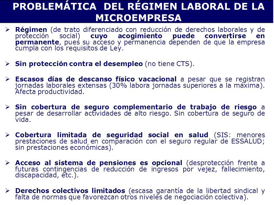 PROBLEMÁTICA DEL RÉGIMEN LABORAL DE LA MICROEMPRESA