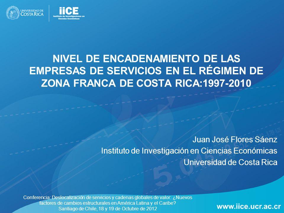 Nivel de encadenamiento de las empresas de servicios en el régimen de zona franca de Costa Rica:1997-2010
