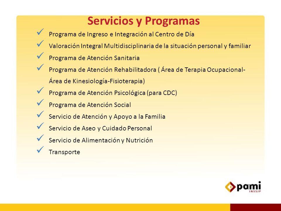 Servicios y Programas Programa de Ingreso e Integración al Centro de Día. Valoración Integral Multidisciplinaria de la situación personal y familiar.