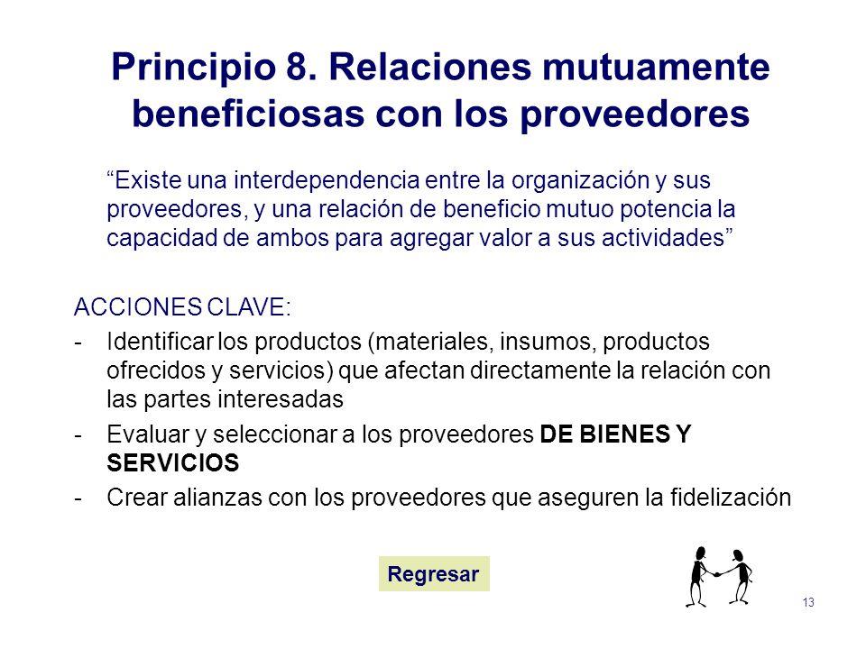 Principio 8. Relaciones mutuamente beneficiosas con los proveedores