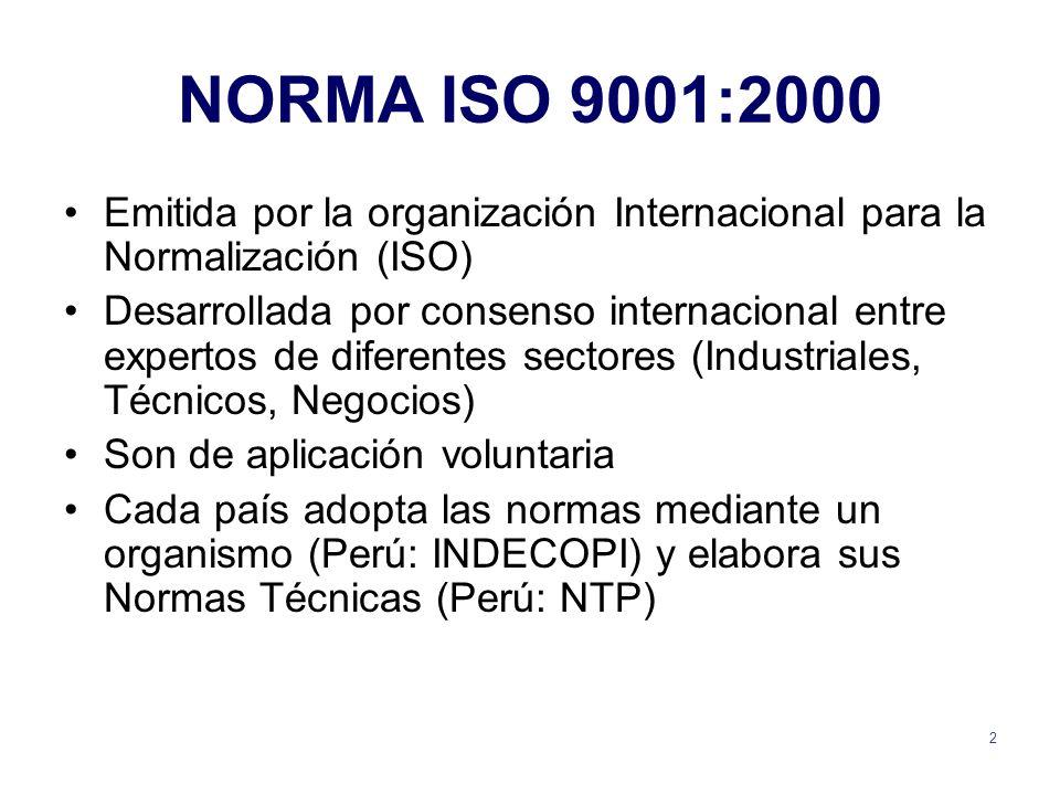 NORMA ISO 9001:2000 Emitida por la organización Internacional para la Normalización (ISO)