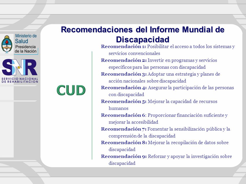 Recomendaciones del Informe Mundial de Discapacidad