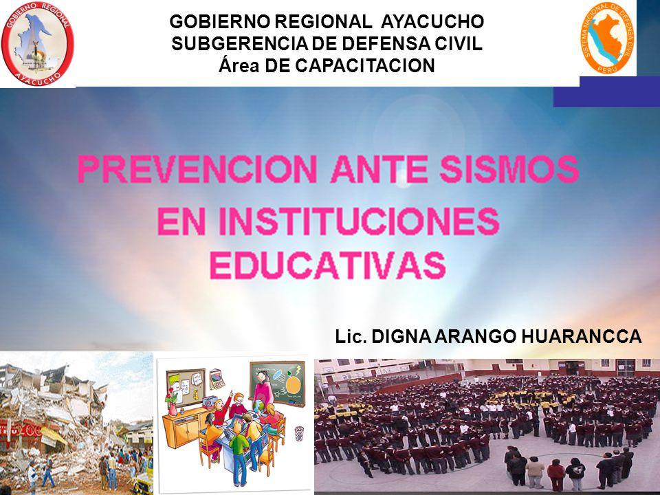 GOBIERNO REGIONAL AYACUCHO SUBGERENCIA DE DEFENSA CIVIL