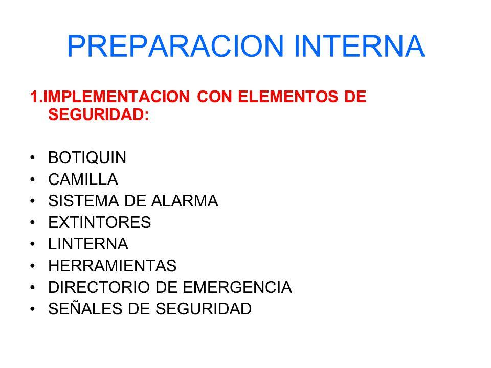 PREPARACION INTERNA 1.IMPLEMENTACION CON ELEMENTOS DE SEGURIDAD: