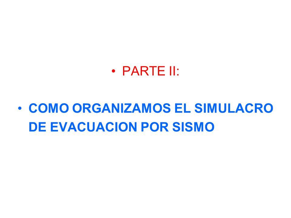 PARTE II: COMO ORGANIZAMOS EL SIMULACRO DE EVACUACION POR SISMO