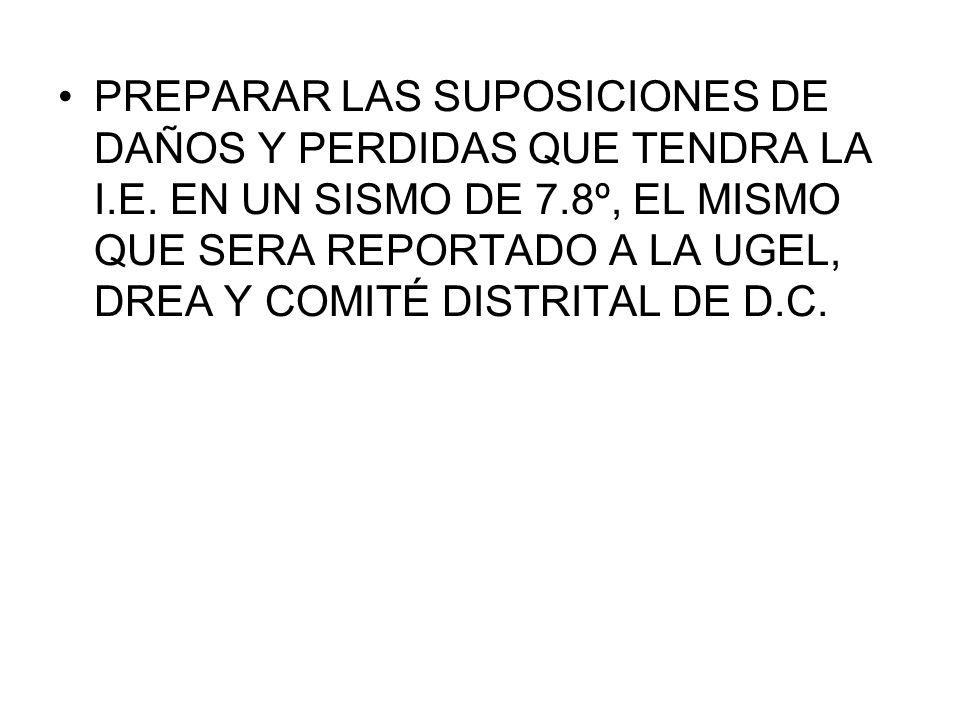 PREPARAR LAS SUPOSICIONES DE DAÑOS Y PERDIDAS QUE TENDRA LA I. E