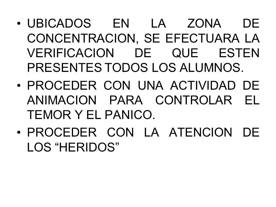UBICADOS EN LA ZONA DE CONCENTRACION, SE EFECTUARA LA VERIFICACION DE QUE ESTEN PRESENTES TODOS LOS ALUMNOS.