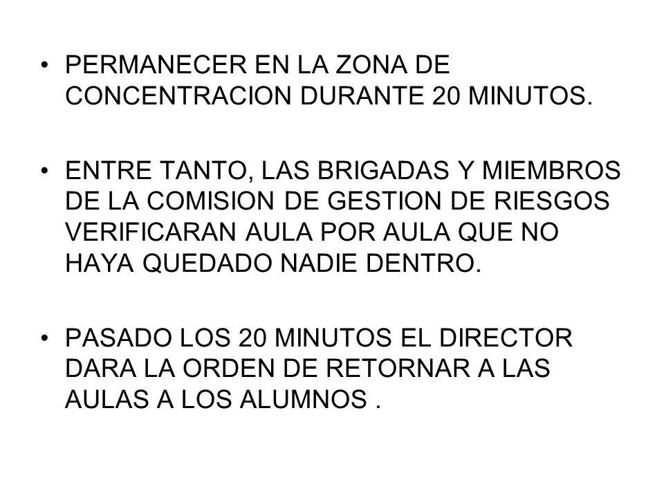 PERMANECER EN LA ZONA DE CONCENTRACION DURANTE 20 MINUTOS.