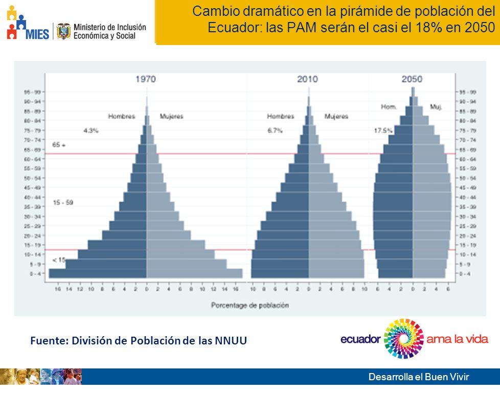 Cambio dramático en la pirámide de población del Ecuador: las PAM serán el casi el 18% en 2050