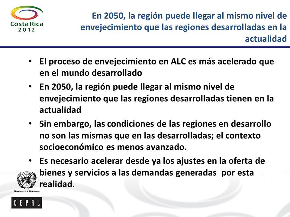 En 2050, la región puede llegar al mismo nivel de envejecimiento que las regiones desarrolladas en la actualidad