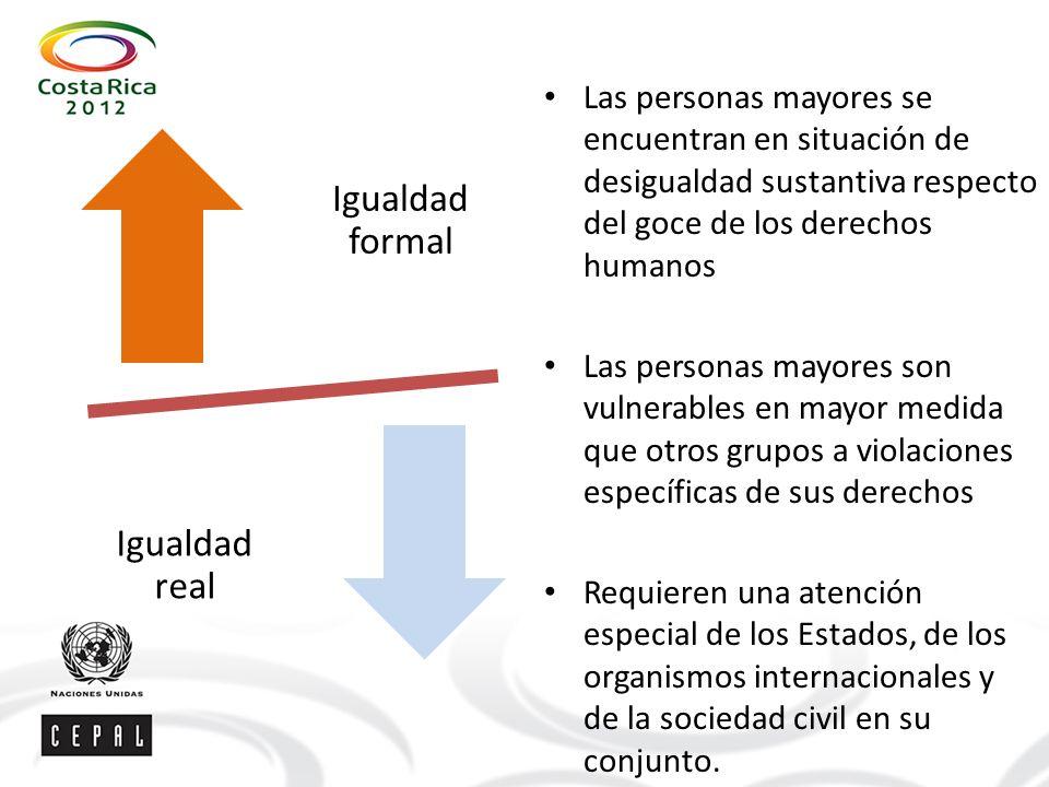Las personas mayores se encuentran en situación de desigualdad sustantiva respecto del goce de los derechos humanos