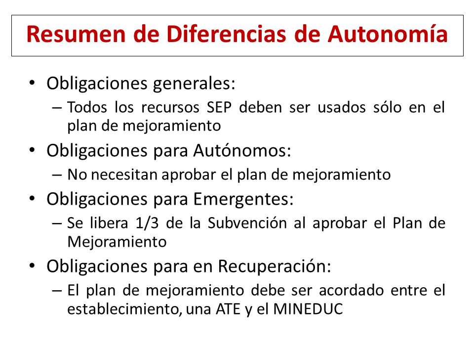Resumen de Diferencias de Autonomía