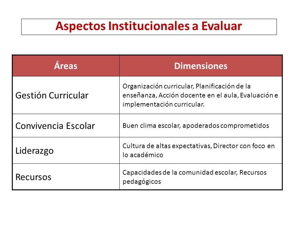 Aspectos Institucionales a Evaluar