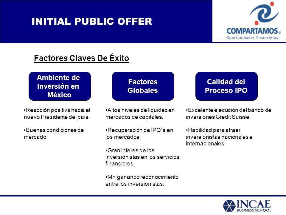 INITIAL PUBLIC OFFER Factores Claves De Éxito Ambiente de Inversión en