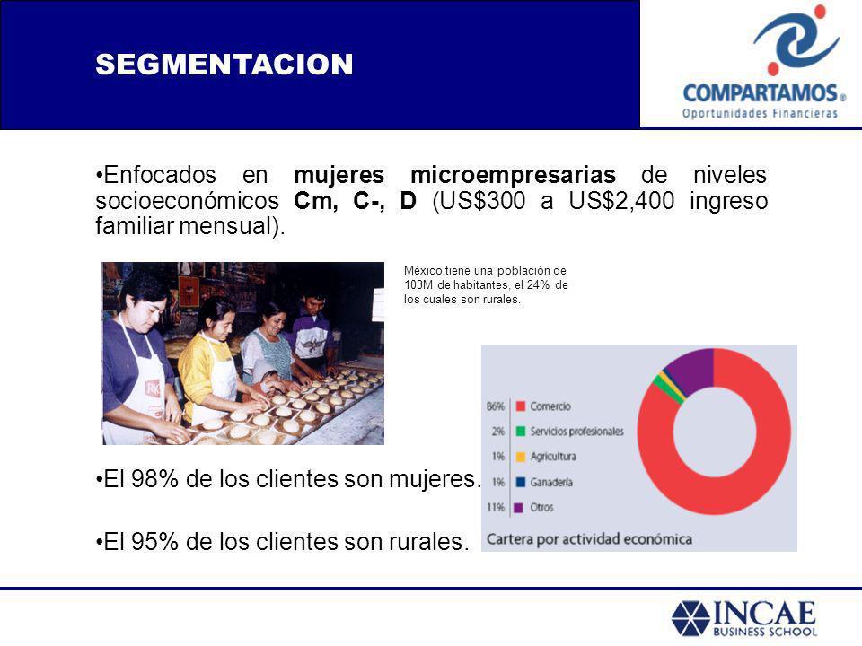 SEGMENTACION Enfocados en mujeres microempresarias de niveles socioeconómicos Cm, C-, D (US$300 a US$2,400 ingreso familiar mensual).